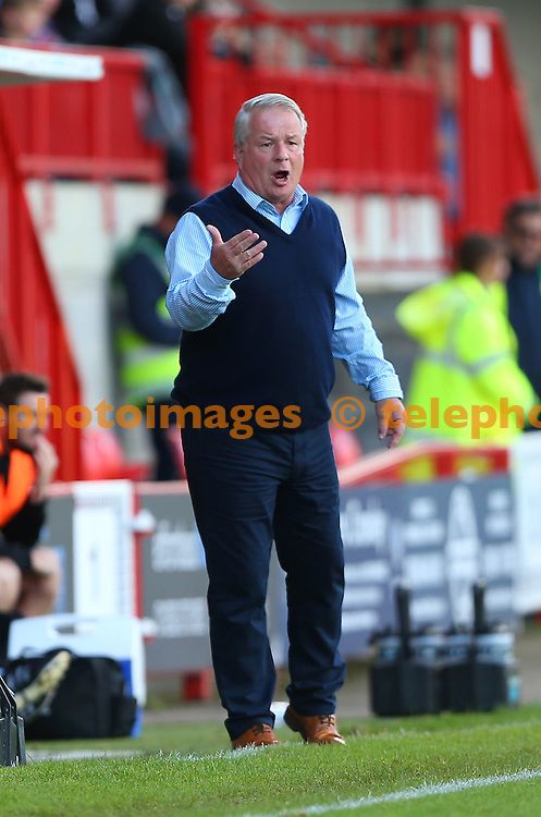 Crawley Town's Manager Dermot Drummy  gestures to his players during the Sky Bet League 2 match between Crawley Town and Blackpool at the Checkatrade Stadium in Crawley. October 1, 2016.<br /> James Boardman / Telephoto Images<br /> +44 7967 642437