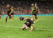 Matt Burton try for Penrith.<br /> NRL Grand Final 2021.<br /> Penrith Panthers v South Sydney Rabbitohs. <br /> © image by NRL Photos