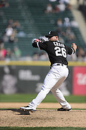 CHICAGO - APRIL 13:  Jesse Crain #26 of the Chicago White Sox pitches against the Oakland Athletics on April 13, 2011 at U.S. Cellular Field in Chicago, Illinois.  The Athletics defeated the White Sox 7-4 in ten innings.  (Photo by Ron Vesely)  Subject: Jesse Crain