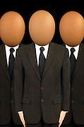 businessmen with egg heads, boffins,<br />