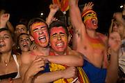 Celebrating goal of Spain