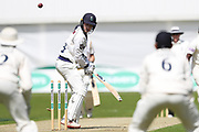 Wicket! Harry Brook of Yorkshire is bowled by Fidel Edwards of Hampshire during the opening day of the Specsavers County Champ Div 1 match between Yorkshire County Cricket Club and Hampshire County Cricket Club at Headingley Stadium, Headingley, United Kingdom on 27 May 2019.