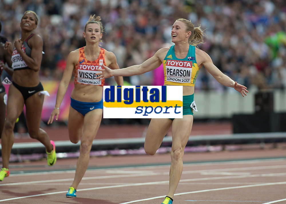 Athletics - 2017 IAAF London World Athletics Championships - Day Eight, Evening Session<br /> <br /> Womens 100m Hurdles Semi final<br /> <br /> Sally Pearson (Australia) celebrates reachng the final of the 100m hurdles at the London Stadium<br /> <br /> COLORSPORT/DANIEL BEARHAM