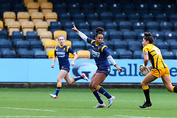 Jade Shekells of Worcester Warriors Women tracks the run of Gemma Rowland of Wasps FC Ladies - Mandatory by-line: Nick Browning/JMP - 24/10/2020 - RUGBY - Sixways Stadium - Worcester, England - Worcester Warriors Women v Wasps FC Ladies - Allianz Premier 15s