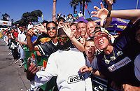 1996:  Pro Inline skater and event host AJ Jackson with the crowd at outdoor event. Transparency Image Scan.