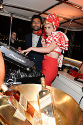 The Johnnie Walker Gold Label Reserve Party aboard John Walker & Sons Voyager, St.Georges Stairs Tier, Butler's Wharf Pier, London, UK on 17th July 2013.<br /> Picture Shows:-Paloma Faith & DJ Banks.