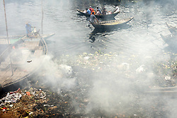 May 29, 2017 - Dhaka, Dhaka, Bangladesh - May 29, 2017 - Dhaka, Bangladesh – The river Buriganga water is extremely polluted. Sewage from the city, oil spills from boats and chemicals from industry have all led to pollution of the water. (Credit Image: © K M Asad via ZUMA Wire)