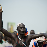 South Sudanese during a mock parade in preparation for independence day.