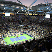 2016 U.S. Open - Day 14  A general view of Arthur Ashe Stadium at sunset during the Men's Singles Final between Novak Djokovic of Serbia and Stan Wawrinka of Switzerland on day fourteen of the 2016 US Open Tennis Tournament at the USTA Billie Jean King National Tennis Center on September 11, 2016 in Flushing, Queens, New York City.  (Photo by Tim Clayton/Corbis via Getty Images)