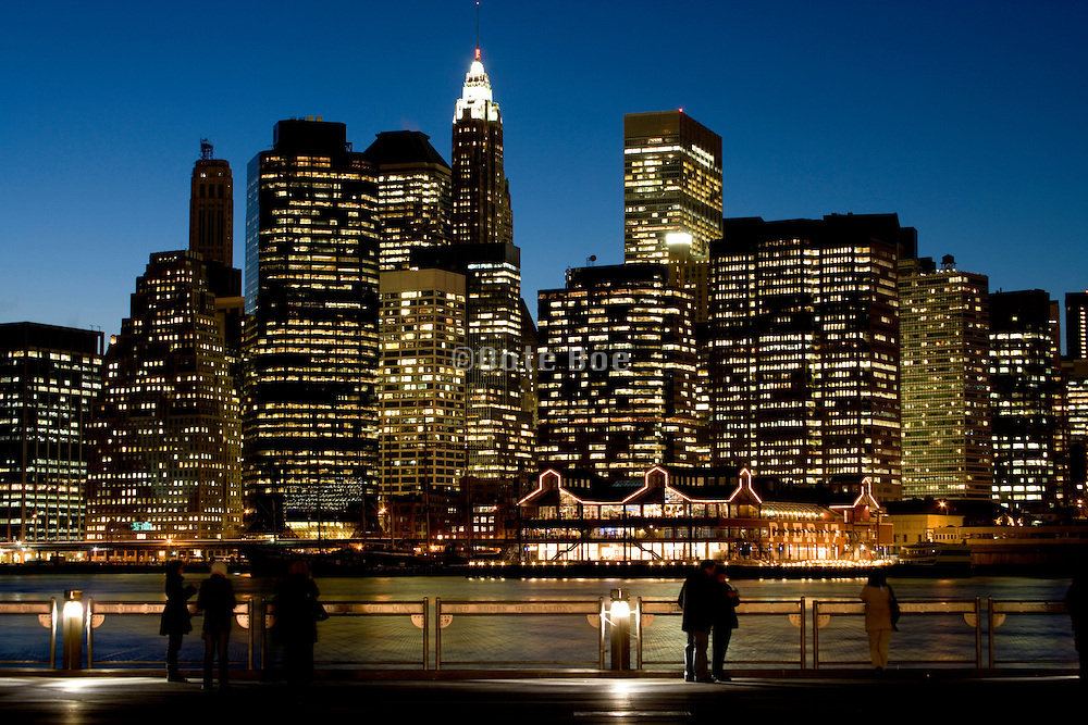skyline of down town Manhattan high rise seen from the Brooklyn side