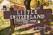 Sign marking the tiny hamlet of Little Switzerland, North Carolina.