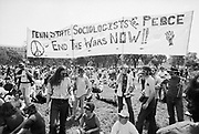 """24 May 1970 --- Anti-Vietnam War protesters in Washington DC hold a banner that reads """"Sociologists for Peace"""" during a demonstration for the students killed at Kent State. 