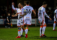 Blackpool's Jay Spearing celebrates scoring his side's second goal from the penalty spot<br /> <br /> Photographer Alex Dodd/CameraSport<br /> <br /> The EFL Sky Bet League One -  Accrington Stanley v Blackpool - Tuesday 5th March 2019 - Crown Ground - Accrington<br /> <br /> World Copyright © 2019 CameraSport. All rights reserved. 43 Linden Ave. Countesthorpe. Leicester. England. LE8 5PG - Tel: +44 (0) 116 277 4147 - admin@camerasport.com - www.camerasport.com