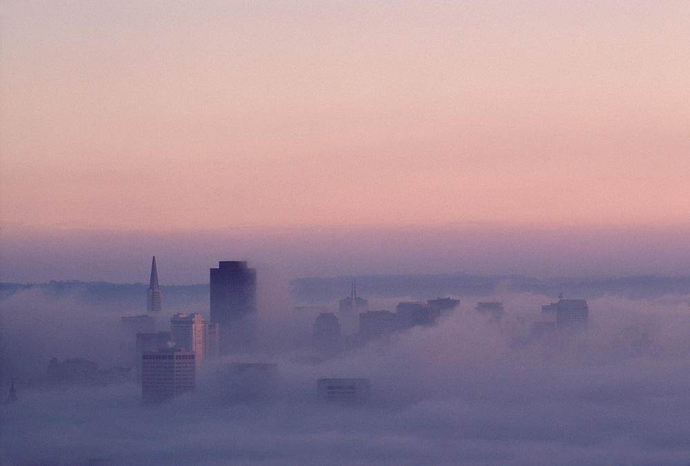 Dawn fog over downtown San Francisco, California, black and white tint
