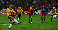 Photo. Daniel Hambury.<br /> UEFA Cup.<br /> Panionios V Newcastle United. 21/10/2004.<br /> Newcastle's Alan Shearer scores from the penalty spot