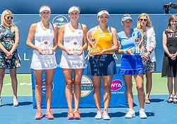 August 5, 2018 - San Jose, CA, U.S. - SAN JOSE, CA - AUGUST 05: Lyudmyla Kichenok (UKR) and Nadiia Kichenok (UKR)(runners up) pose with Latisha Chan (TPE) and Kveta Peschke (CZE) (winners) for the WTA Doubles Championship match at the Mubadala Silicon Valley Classic on the San Jose State University Stadium Court in San Jose, CA  on Sunday, August 5, 2018. (Photo by Douglas Stringer/Icon Sportswire) (Credit Image: © Douglas Stringer/Icon SMI via ZUMA Press)