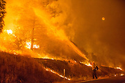 A firefighter hoses down flames at the Rocky Fire near Lower Lake, California, U.S., July 31, 2015. The Rocky Fire was the largest of 23 major wildfires burning concurrently in northern California at the time.