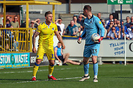 Bristol Rovers defender James Clarke (15) and Bristol Rovers goalkeeper Jack Bonham (13) arguing during the EFL Sky Bet League 1 match between AFC Wimbledon and Bristol Rovers at the Cherry Red Records Stadium, Kingston, England on 19 April 2019.
