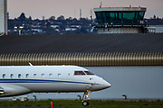 An aeroplane lands in London City Airport on Friday, April 30, 2021, which has become the world's first major airport to be fully controlled by a remote control tower. (Photo/ Vudi Xhymshiti)