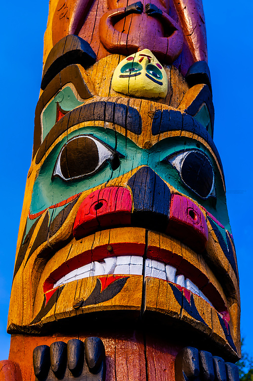 Saxman totem poles (largest collection of totem poles in the world), Saxman, near Ketchikan, Southeast Alaska USA