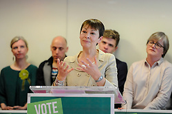 © Licensed to London News Pictures. 22/05/2017. London, UK.  Caroline Lucas, Co-Leader of the Green Party, speaks at the launch of the party's manifesto ahead of the upcoming General Election at a press conference in central London.  Photo credit : Stephen Chung/LNP
