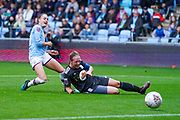 Manchester City Women forward Tessa Wullaert (25) and Birmingham City Women defender Kerys Harrop (6) in action during the FA Women's Super League match between Manchester City Women and BIrmingham City Women at the Sport City Academy Stadium, Manchester, United Kingdom on 12 October 2019.