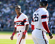 CHICAGO - SEPTEMBER 03:  Tim Anderson #7 reacts after Avisail Garcia #26 of the Chicago White Sox runs past Anderson during the game against the Tampa Bay Rays on September 3, 2017 at Guaranteed Rate Field in Chicago, Illinois.  (Photo by Ron Vesely) Subject:   Tim Anderson; Avisail Garcia