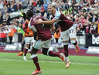 Football - 2021 / 2022 Premier League - West Ham United vs Crystal Palace - London Stadium - Saturday 28th August 2021<br /> <br /> Michail Antonio of West Ham celebrates scoring  goal no 2 with Said Benrahma<br /> <br /> Credit : COLORSPORT/Andrew Cowie