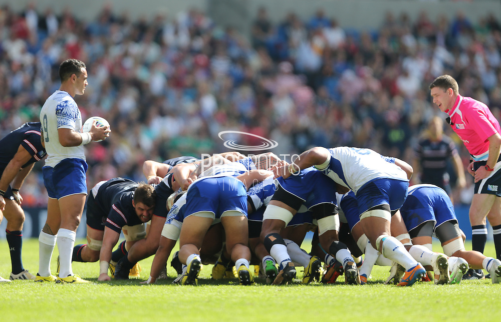 Samoa Kahn Fotuali'i prepares to put the ball into the scrum during the Rugby World Cup 2015 match between Samoa and USA at the Brighton Community Stadium, Falmer, United Kingdom on 20 September 2015.