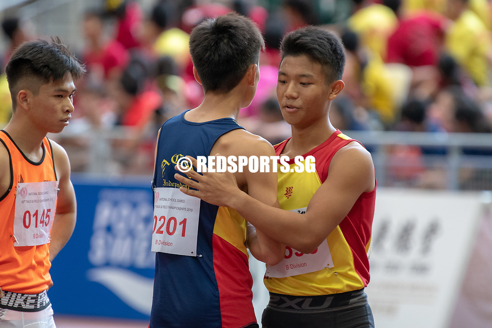 Mark Lee Ren (#201) of ACS(I) was the first runner-up in the B Division Boys' 100m final with a time of 00:11.33. (Photo X © REDintern Jared Khoo)
