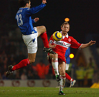 Fotball<br /> England 2004/2005<br /> Foto: SBI/Digitalsport<br /> NORWAY ONLY<br /> <br /> Portsmouth v Middlesborough<br /> 1/2/2005.<br /> Barclays Premiership.<br /> Portsmouth's Patrik Berger out jumps Boro's Ray Parlour
