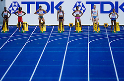 Courtney Patterson (ISV), Kelly-Ann Baptiste (TRI), Eleni Artymata (ZYP), Muna Lee (USA), Beatriz Mangue (GEQ), Pia Tajnikar of Slovenia  and Pauline Kwalea (SOL) compete in the women's 100 Metres Heats during day two of the 12th 2009 IAAF Athletics World Championships on August 16, 2009 in Berlin, Germany. (Photo by Vid Ponikvar / Sportida)