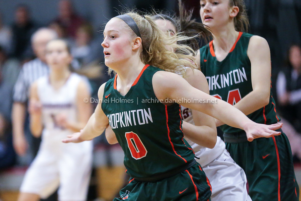 (1/11/19, MILLIS, MA) Hopkinton's Lillian Morningstar guards a Millis player during the girls basketball game against Mills at Millis High School on Friday. [Daily News and Wicked Local Photo/Dan Holmes]