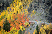 A group of mountain bikers ride along an old mining road in the San Juan Mountains of Colorado.