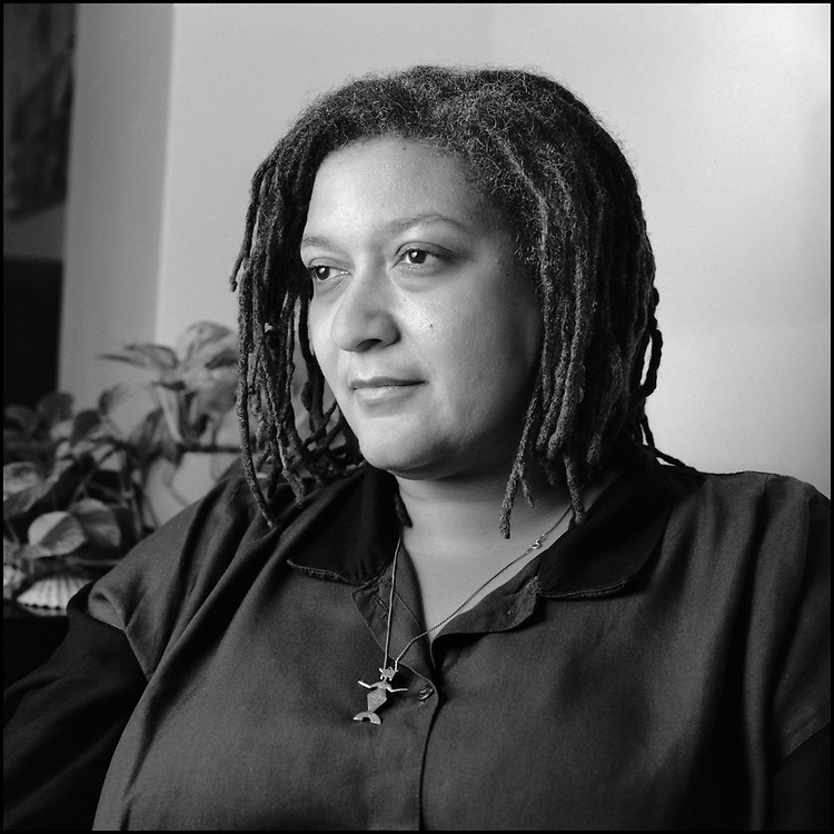 Jewelle Gomez (born September 11, 1948) is an American author, poet, critic and playwright. Her writing—fiction, poetry, essays and cultural criticism—has appeared in a wide variety of outlets, both feminist and mainstream. Her work centers on women's experiences, particularly those of LGBTQ women of color. Photographed at home in New York City on April 23, 1991