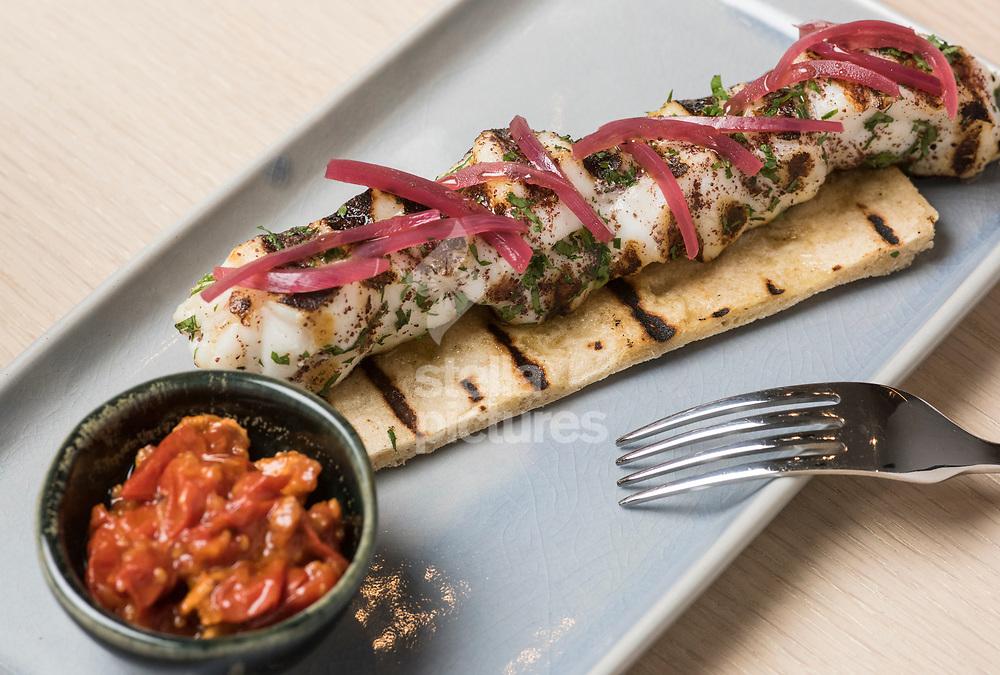 Monkfish souvlaki, at Meraki as part of Evening Standard restaurant review.<br /> Picture by Daniel Hambury/Stella Pictures Ltd 07813022858<br /> 10/07/2017