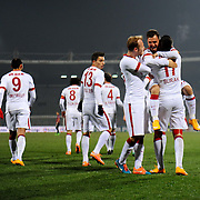 Galatasaray's Emre Colak (2ndR) celebrate his goal with team mate during their Turkish Super League soccer match Genclerbirligi between Galatasaray at the 19 Mayis stadium in Ankara Turkey on Friday, 26 December 2014. Photo by Batuhan AKICI/TURKPIX