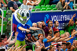 Official mascot and the fans during volleyball match between Cuba and Slovenia in Final of FIVB Volleyball Challenger Cup Men, on July 7, 2019 in Arena Stozice, Ljubljana, Slovenia. Photo by Matic Klansek Velej / Sportida