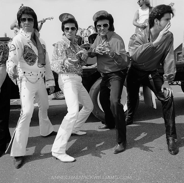 Elvis Presley impersonators ham it up during Tribute Week at Graceland in Memphis, Tennessee.