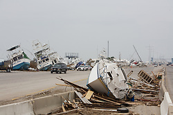 Stock photo of boats pushed up onto land by Hurricane Ike in Galveston Texas