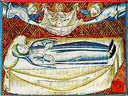 Scene from the 14th Century, illustrated manuscript the Breviari d'amor. It illustrates the seven Acts of Mercy. Here  is shown the redemption of the soul of a pious person. The soul is carried off to Paradise.
