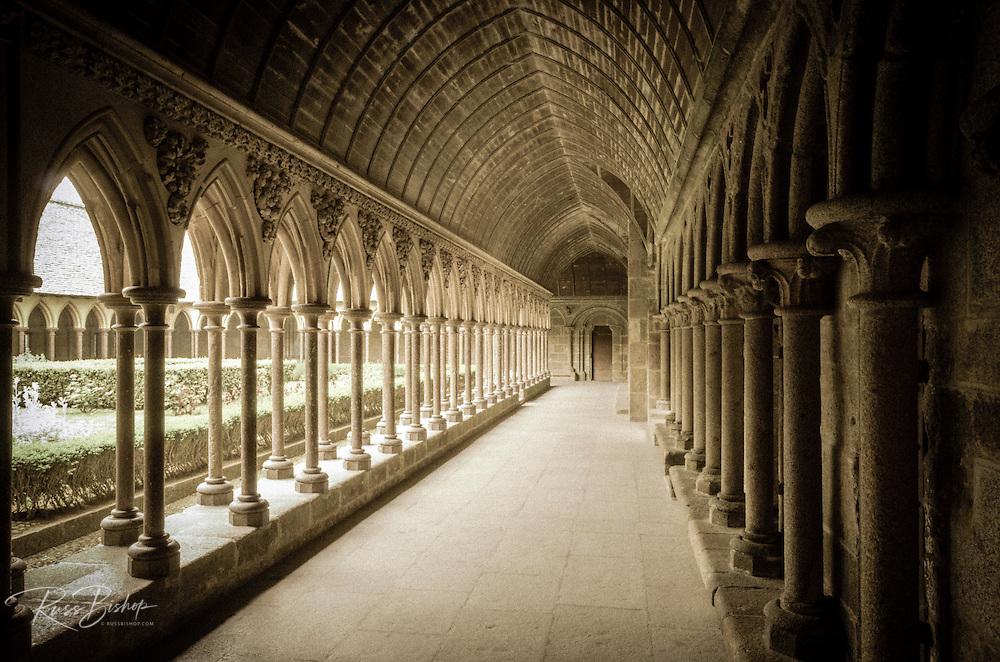 The abbey cloister, Mont Saint-Michel, Normandy, France