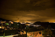 Factory in the valley below Cota 200 favela, Cubatão at night