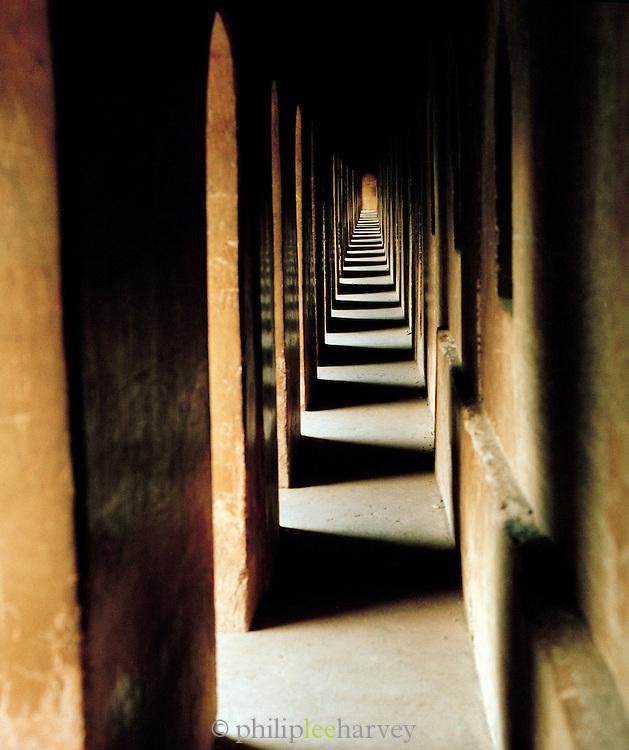 Passageway in the Bara Imambara, a grand shrine for Shia Muslims. Lucknow, Uttar Pradesh, India