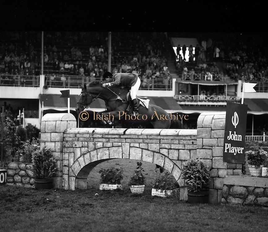 "07/08/1980<br /> 08/07/1980<br /> 07 August 1980<br /> R.D.S. Horse Show: John Player International, Ballsbridge, Dublin.  Armand Leone (U.S.A.) on ""Encore""."