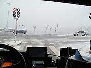 Bussförarutsikt mot Strömmen en vinterdag.