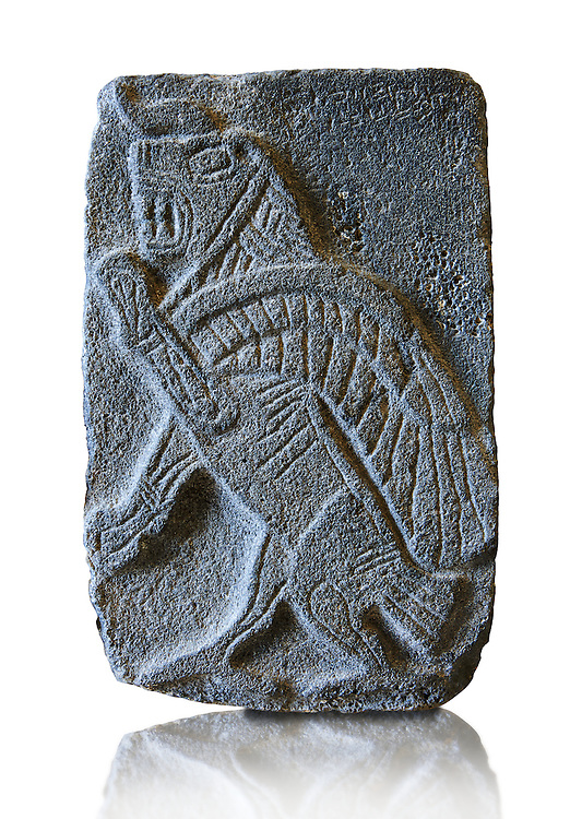 9th century BC stone Neo-Hittite/ Aramaean Orthostats from Palace Temple of the Aramaean city of Tell Halaf in northeastern Syria close to the Turkish border. The Orthostats are in a Neo Hittite style and depict mythical animals and figures that have magical properties. Pergamon Museum, Berlin. Museum Inv No: VA 8843