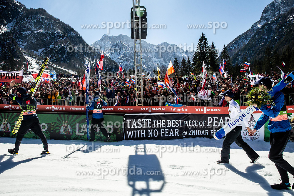 Retired Robert Kranjec of Slovenia (2nd R) celebrates with third placed team of Slovenia: Peter Prevc (SLO), Timi Zajc (SLO) and Anze Semenic (SLO) (Domen Prevc (SLO) missing) during trophy ceremony after the Ski Flying Hill Team Competition at Day 3 of FIS Ski Jumping World Cup Final 2019, on March 23, 2019 in Planica, Slovenia. Photo by Vid Ponikvar / Sportida
