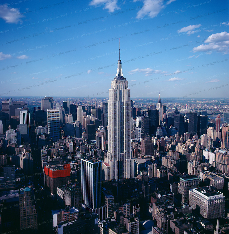 The Empire State Building in New York City, a 102 story 1,454 foot skyscpaper built in 1930.