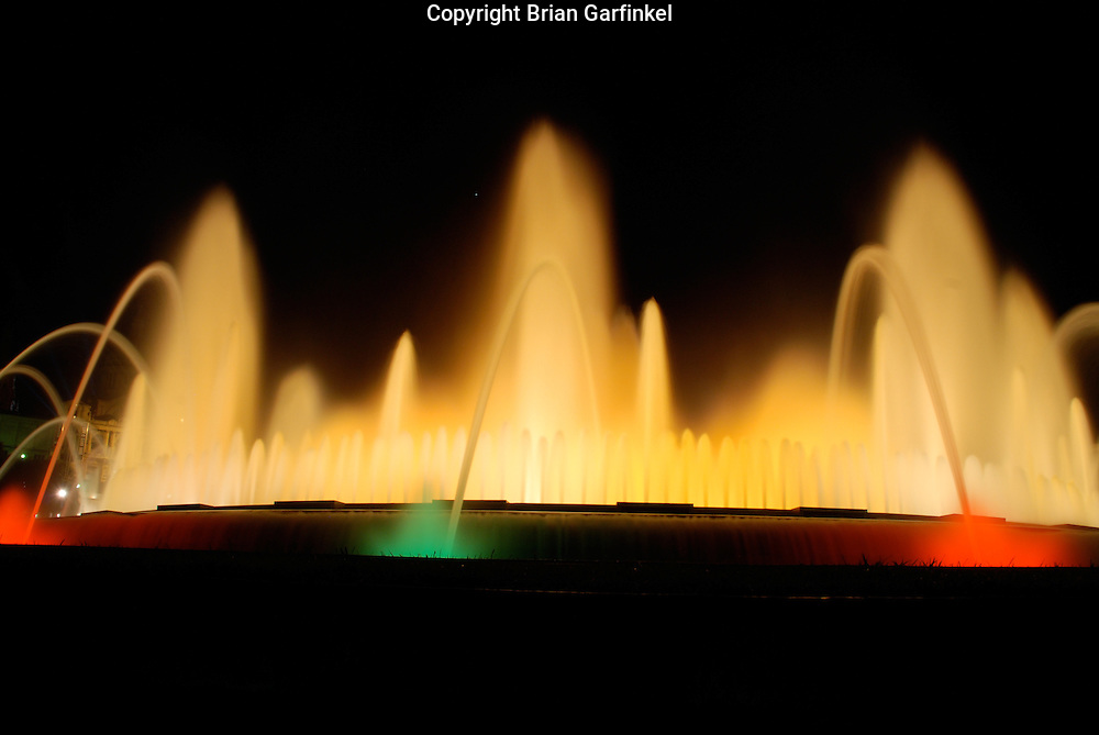 Barcelona, Spain - A choreagraphed fountain display in front of the Barcelona Museum of Art